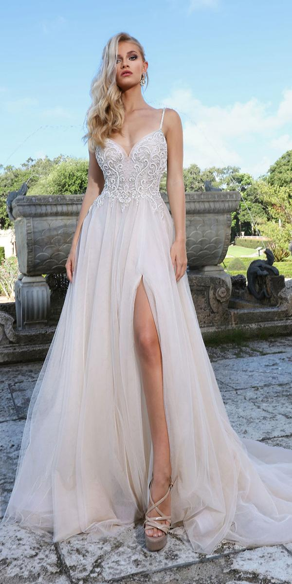 ashley justin bride wedding dresses a line with spaghetti straps plunging neckline
