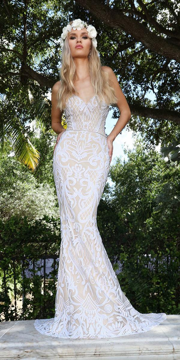 ashley justin bride wedding dresses fit and flare with straps plunging neckline lace ivory