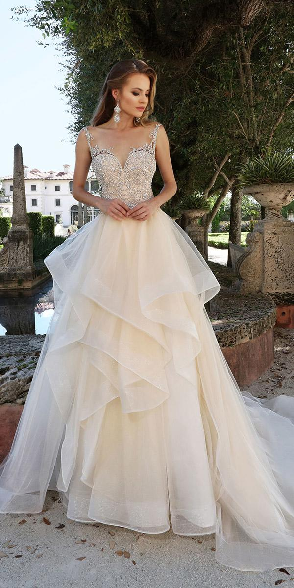 ashley justin bride wedding dresses illusion neckline ruffled skirt ivory