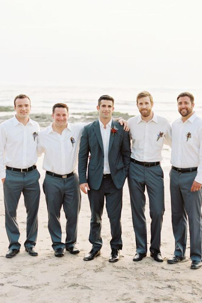 beach groomsmen attire white shirt wedding austin gros photography