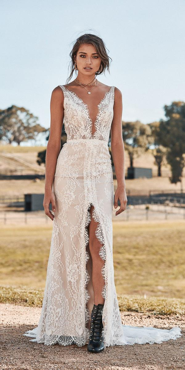 chosen wedding dresses deep v neckline with slit lace barn