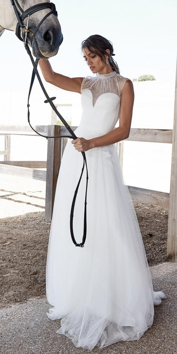 chosen wedding dresses for barn illusion neckline sweetheart