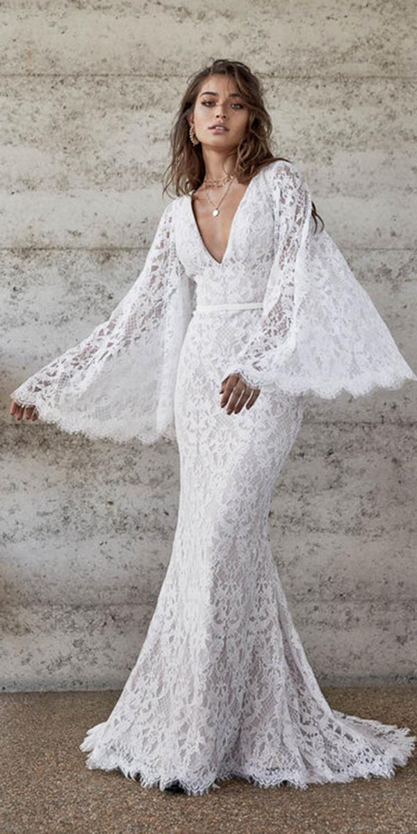 chosen wedding dresses rustic sheath v neckline with long sleeves full lace boho