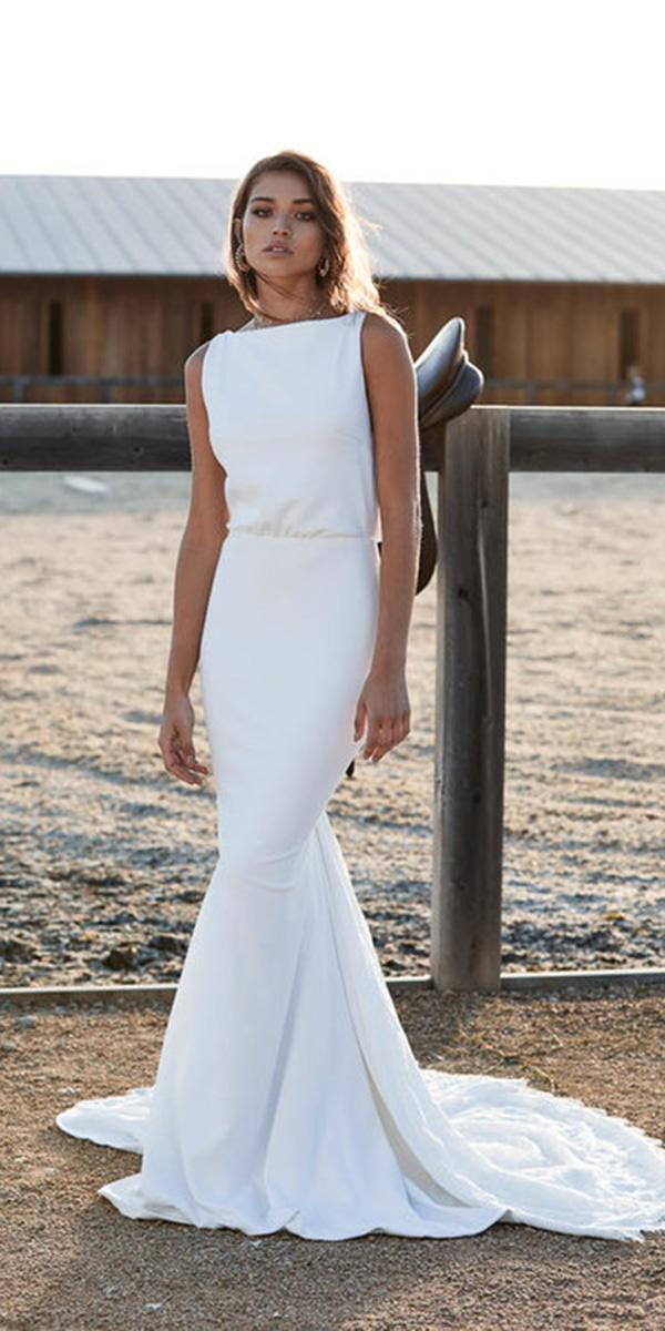 chosen wedding dresses sheath simple sleeveless for barn 2018
