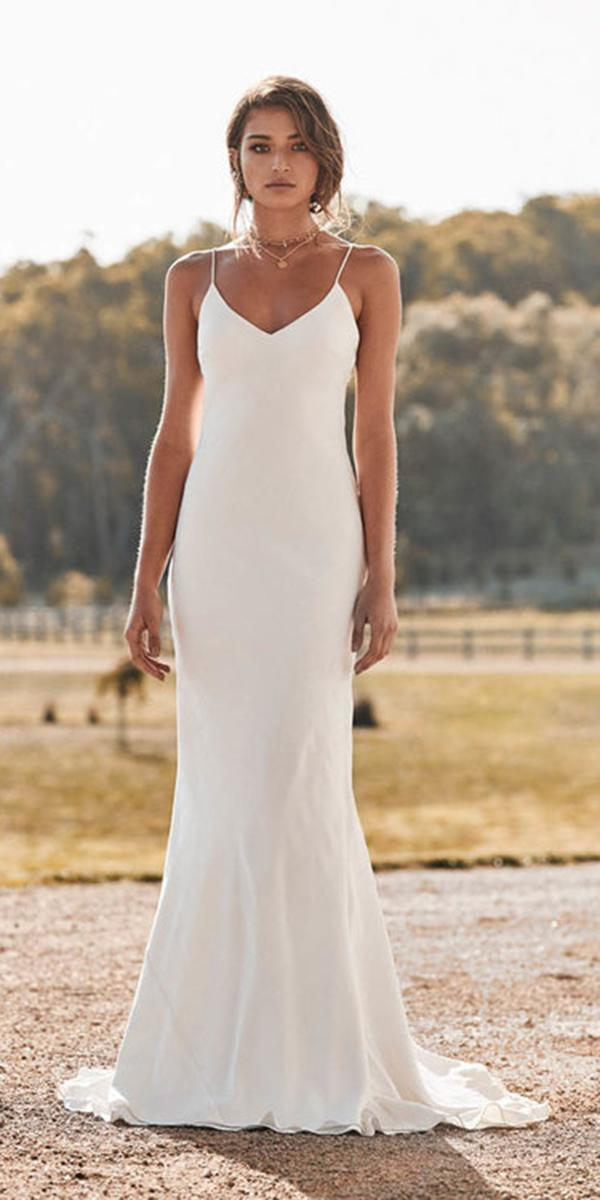 chosen wedding dresses sheath with spaghetti straps simple barnyard
