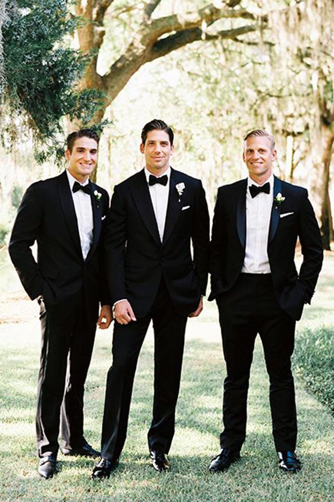 classic groomsmen attire black tie jackets with butterfly perry vaile