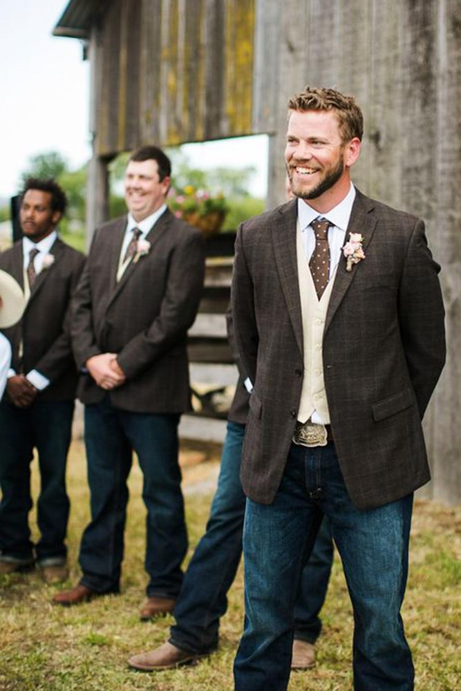 country groomsmen attire brown jackets kelly boitano