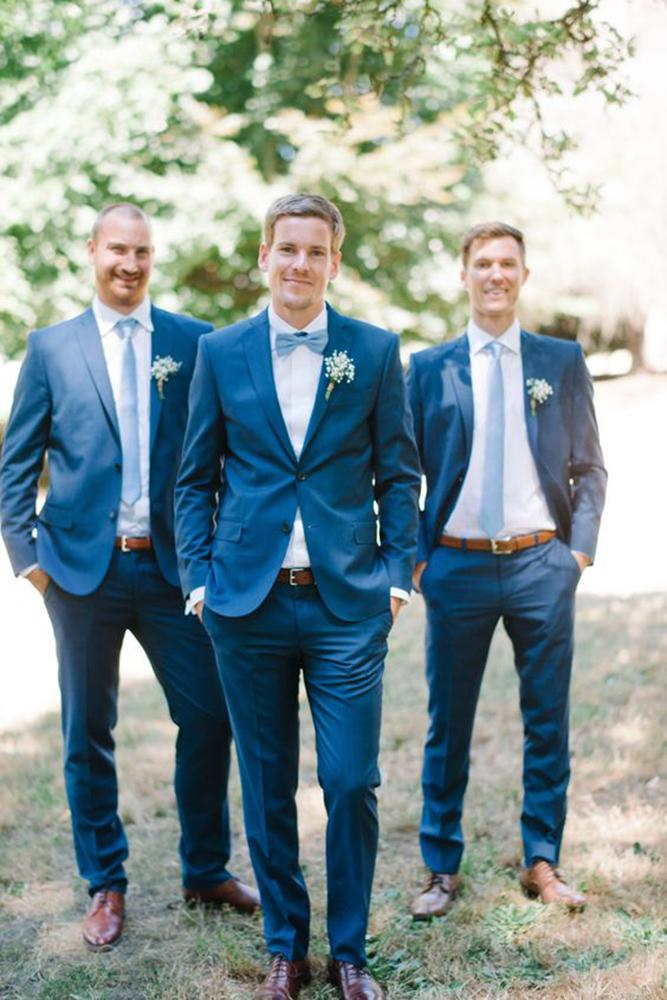 country groomsmen attire navy with tie blue rose photography