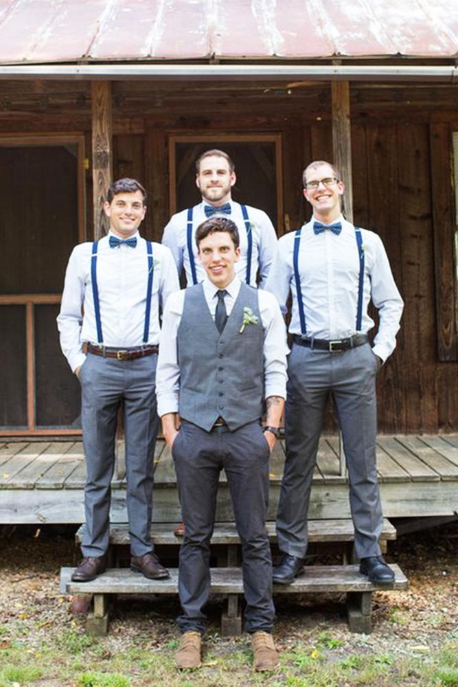 country groomsmen attire shirt with blue suspenders butterfly claire diana photography