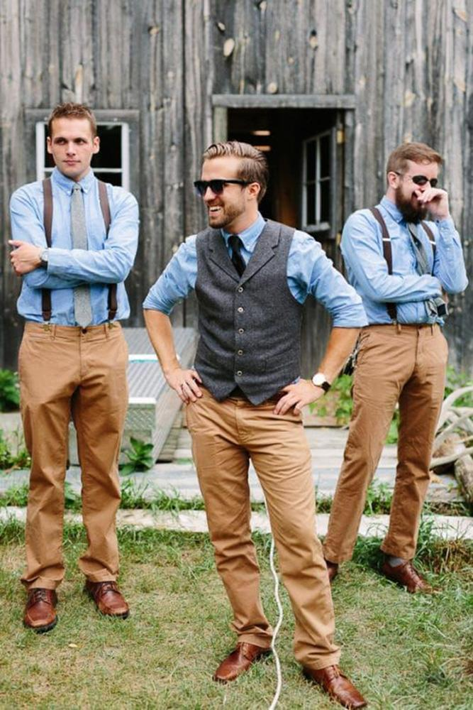 country groomsmen attire with blue shirt with suspenders j lindeberg