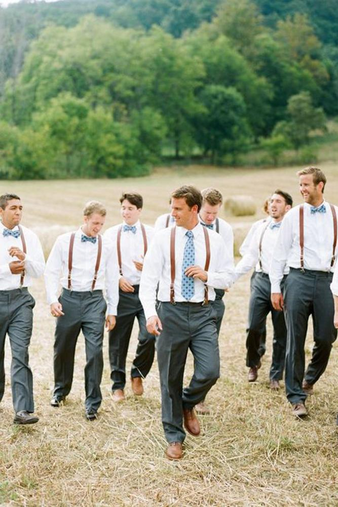 country groomsmen attire with leather suspenders butterfly- graham terhune photography