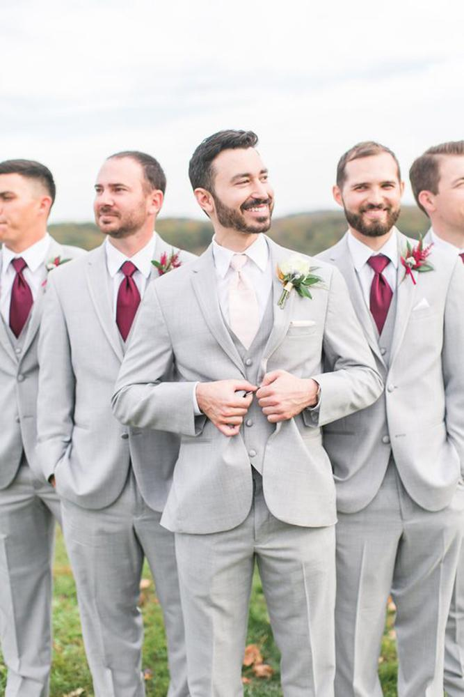 country groomsmen with attire burgundy tie megan kelsey