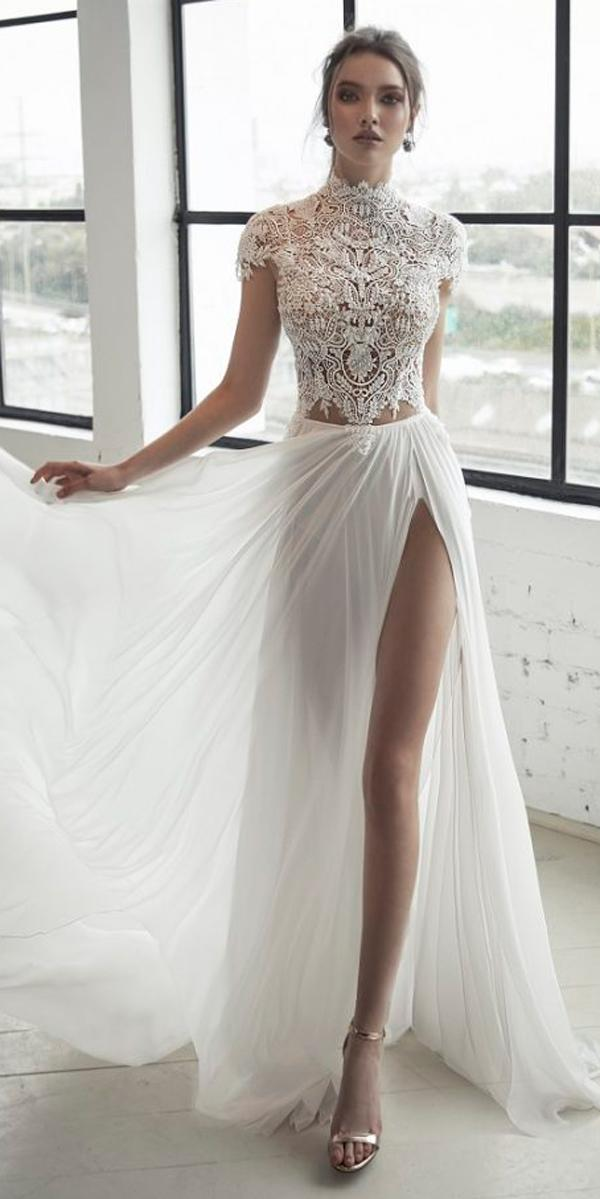 flowy straight lace high neck with short sleeves high slit julie vino 2019 wedding dresses