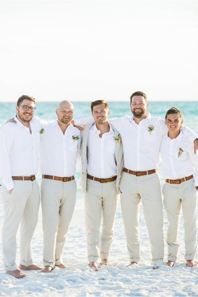 groomsmen attire beach white shirt sweet julep photography