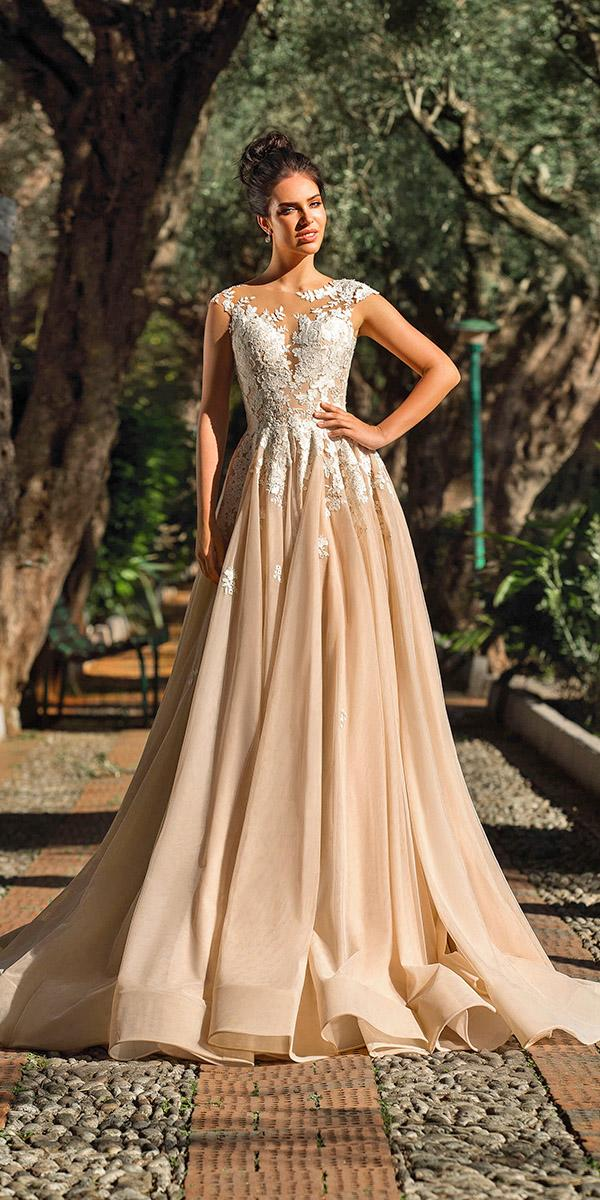 innocentia wedding dresses a line with cap sleeves floral champagne 2019