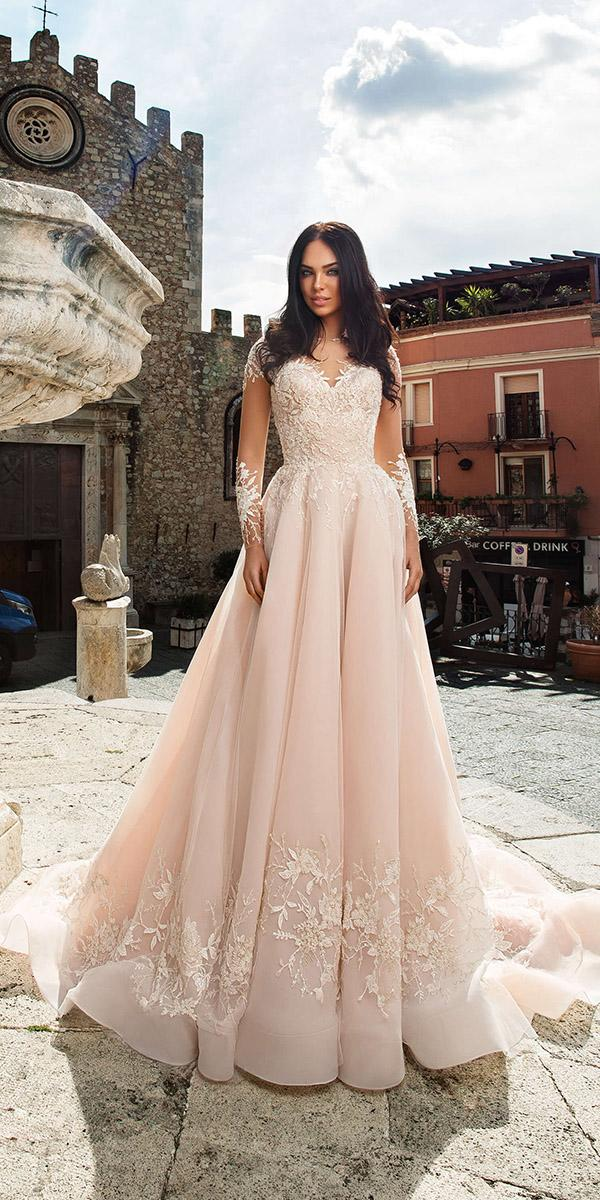 innocentia wedding dresses a line with long illusion sleeves blush 2019