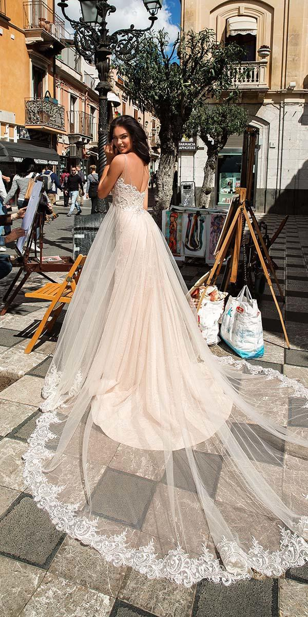 innocentia wedding dresses a line with straps lace top champagne 2019