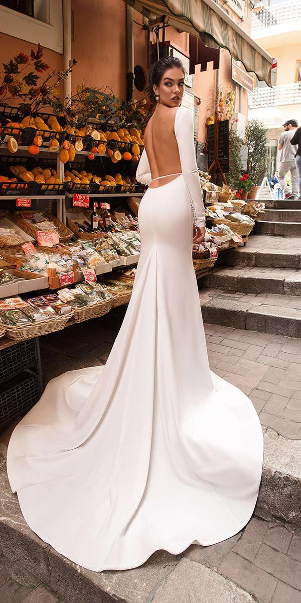 innocentia wedding dresses backless with long sleeves simple 2019