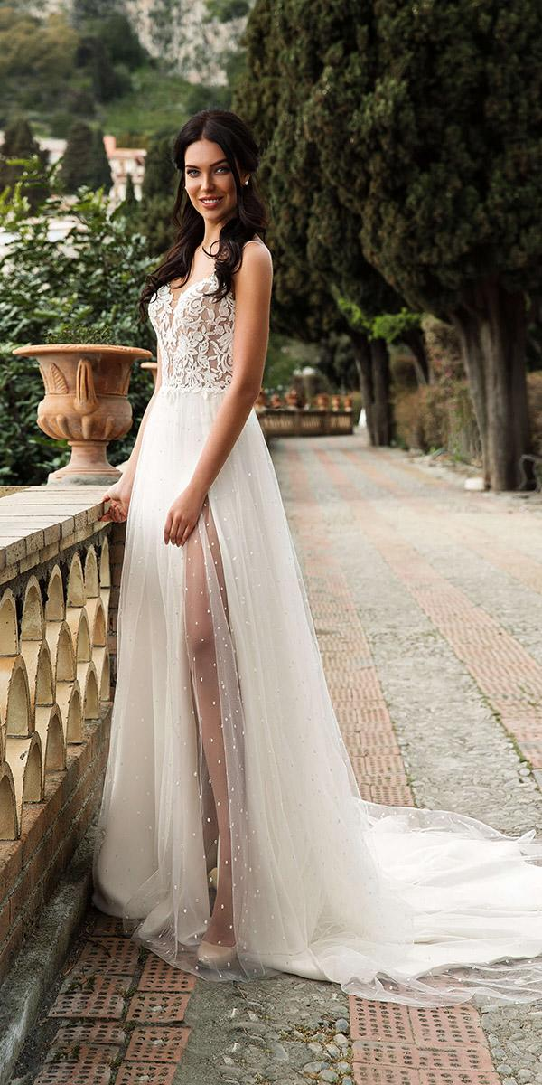 innocentia wedding dresses beach lace top with slit 2019