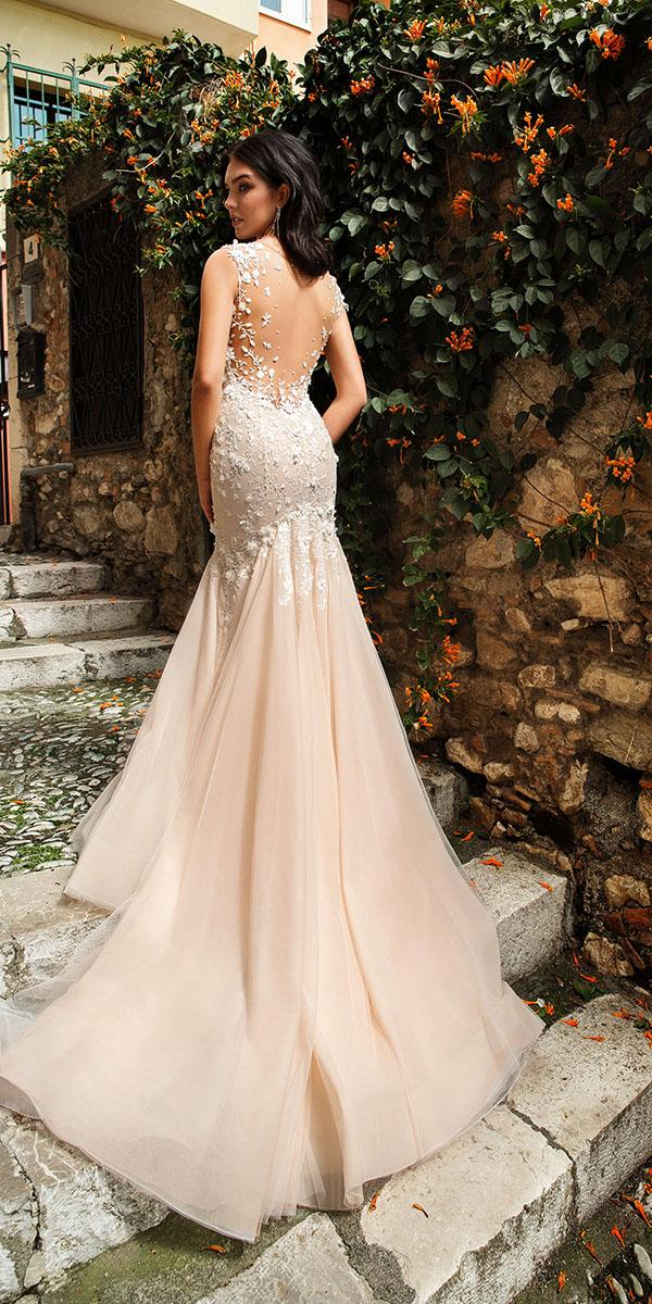 innocentia wedding dresses mermaid illusion back floral appliques 2019