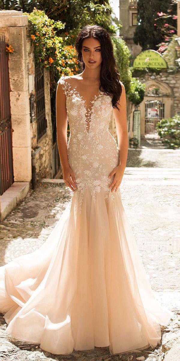 innocentia wedding dresses mermaid illusion neckline floral champagne 2019