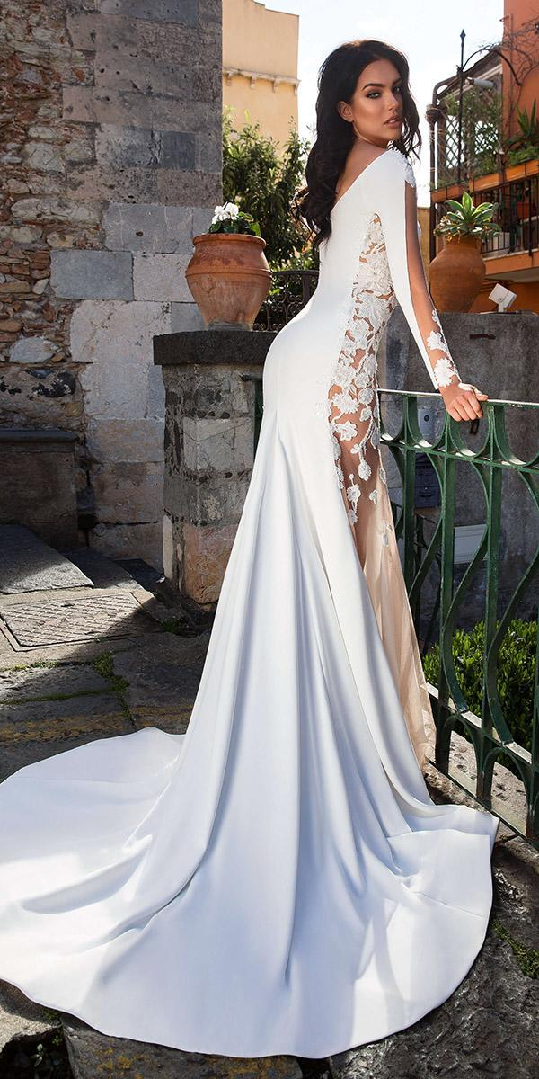 innocentia wedding dresses sheath with long sleeves floral 2019