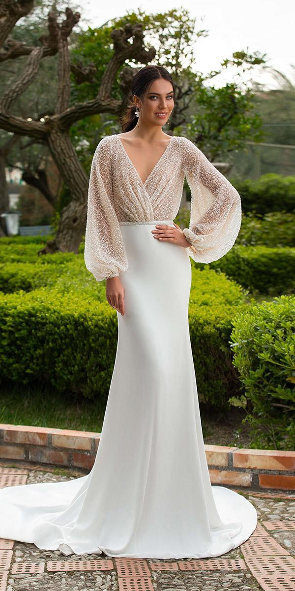 innocentia wedding dresses sheath with long sleeves v neck 2019