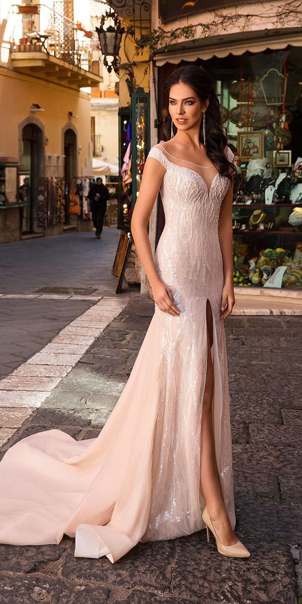 innocentia wedding dresses with cap sleeves sweetheart neckline blush 2019