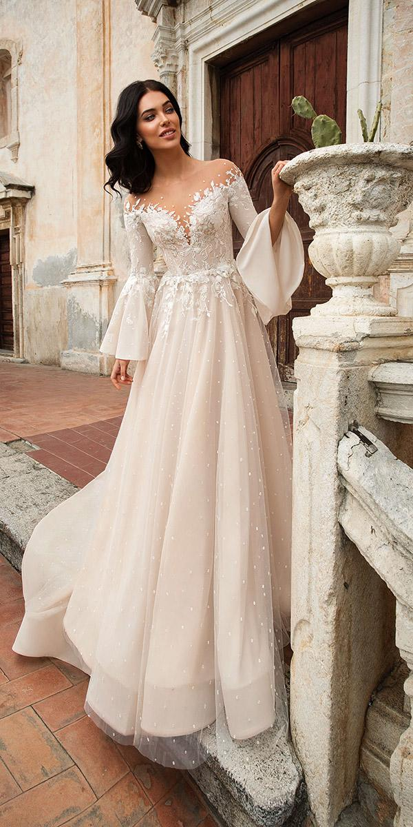 innocentia wedding dresses with long sleeves blush colored 2019