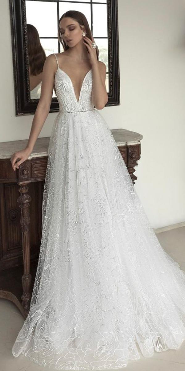 julie vino 2019 wedding dresses a line lace deep v neck spaghetti straps