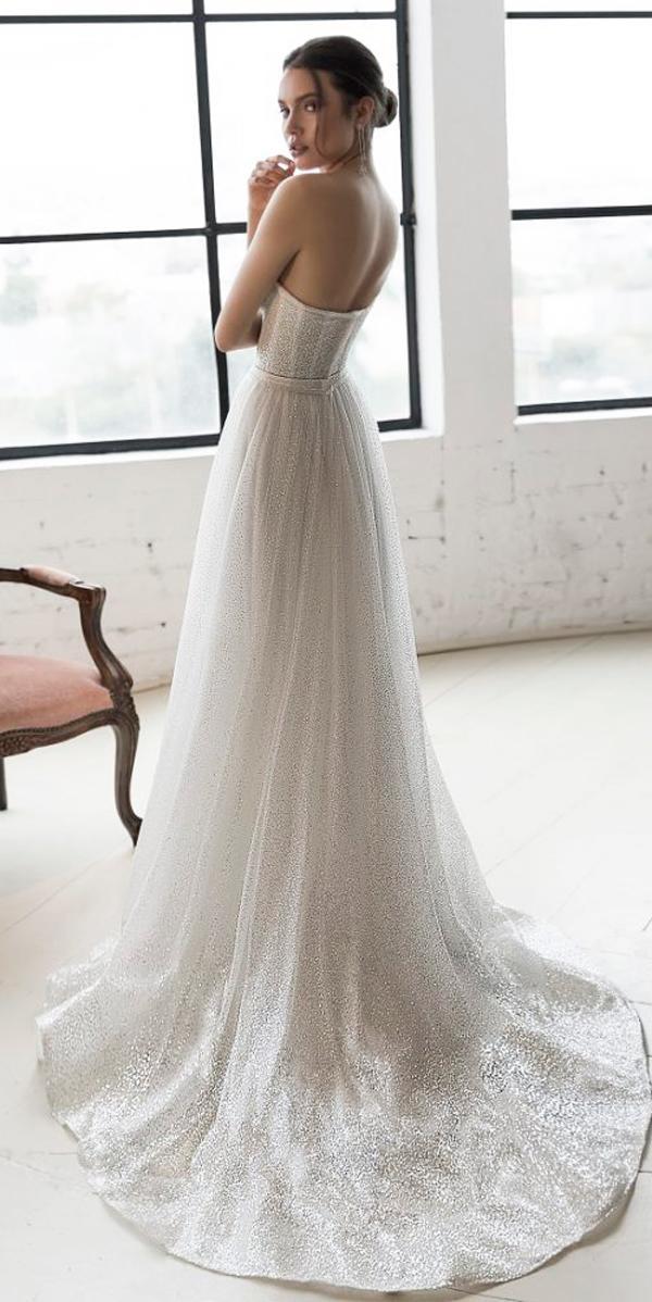 julie vino 2019 wedding dresses a line lace open back bling strapless neckline