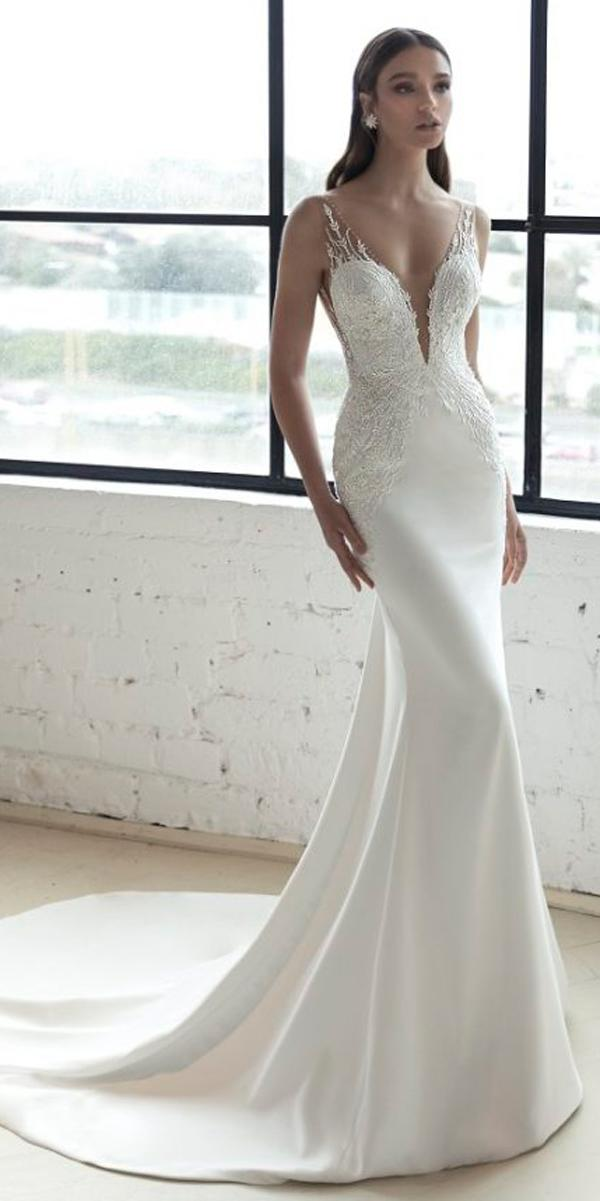 julie vino 2019 wedding dresses lace deep v neckline sheath spaghetti straps with train