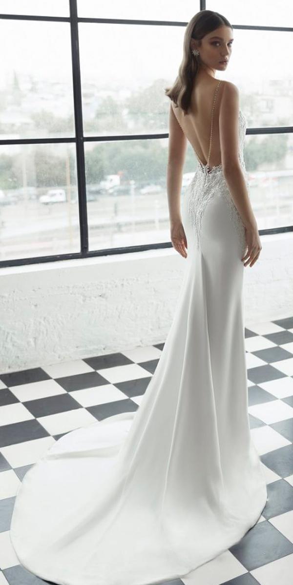 julie vino 2019 wedding dresses sheath low back lace sleeveless with train