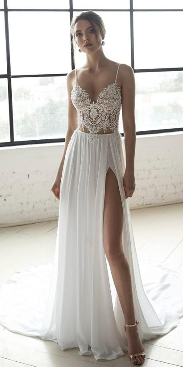 julie vino 2019 wedding dresses straight lace v neck spaghetti straps high slit with train