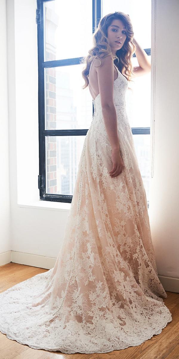 kelly faetanini wedding dresses a line with spaghetti straps lace gloral embellishment 2018