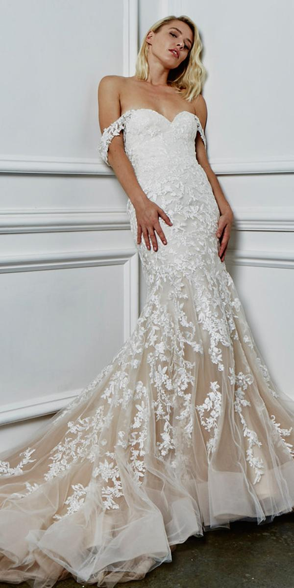 kelly faetanini wedding dresses fit and flare off the shoulder lace blush 2018