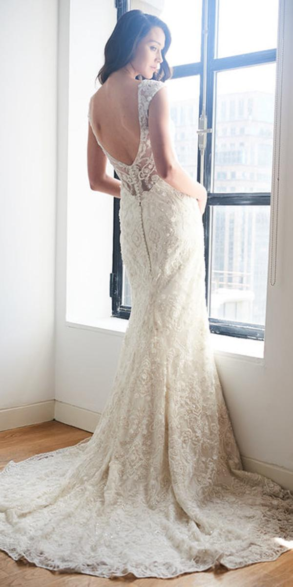 kelly faetanini wedding dresses sheath low back lace with buttons 2018