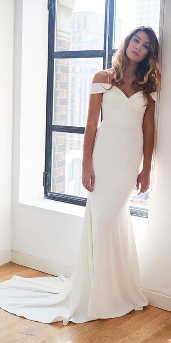 kelly faetanini wedding dresses sheath with spaghetti straps off the shoulder simple 2018