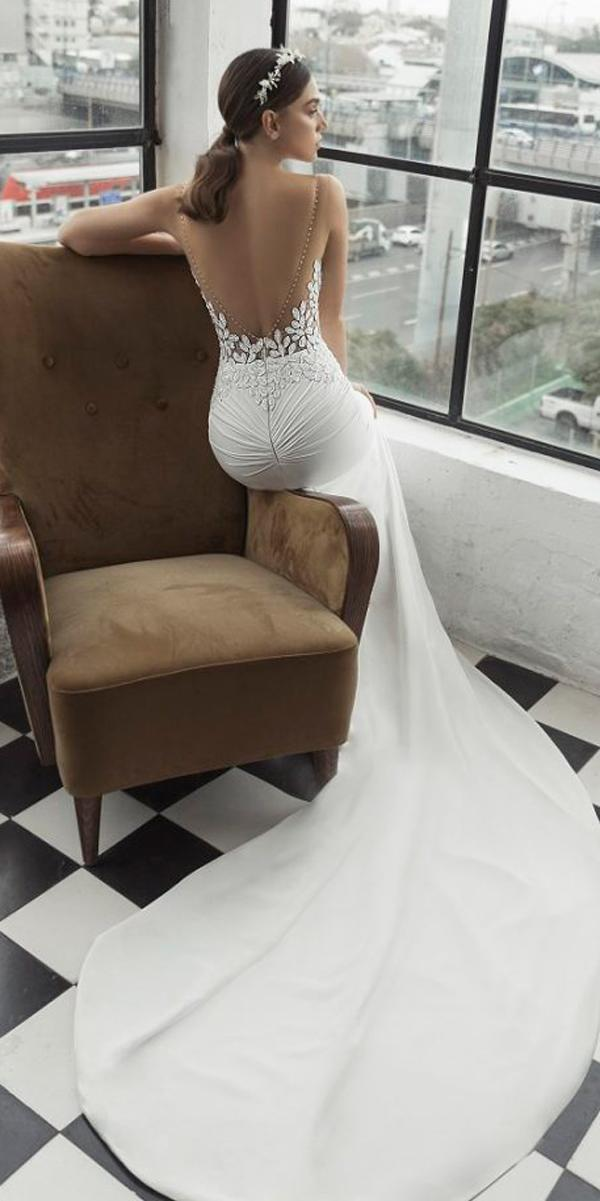 lace sheath low back sleeveless floral applique julie vino 2019 wedding dresses