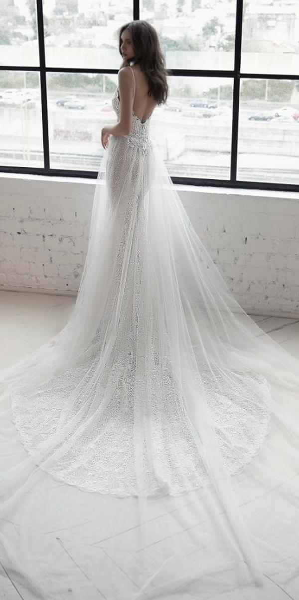 lace sheath with over skirt low back spaghetti straps julie vino 2019 wedding dresses