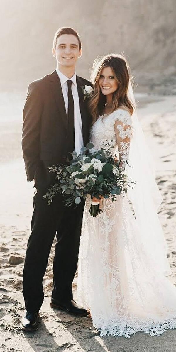 maria menounos wedding a line with long lace sleeves alta moda