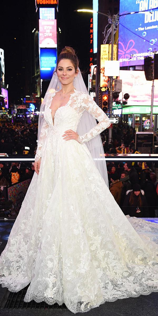 maria menouno wedding ball gown with long sleeves pronovias