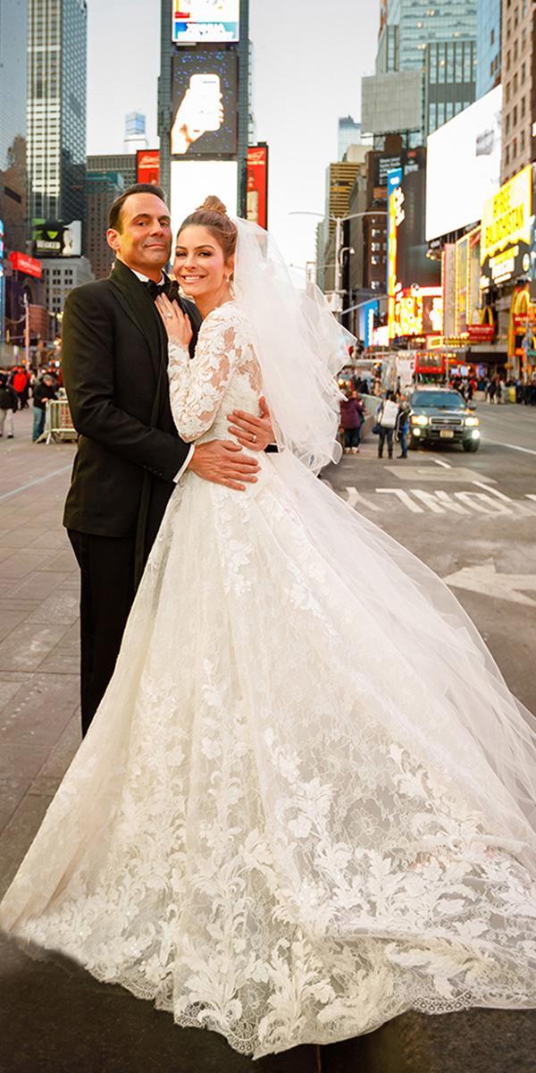 maria menounos wedding real bride ball gown lace pronovias
