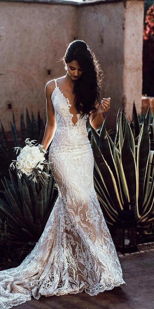 mermaid wedding dresses deep v neckline with spaghetti straps lace galia lahav