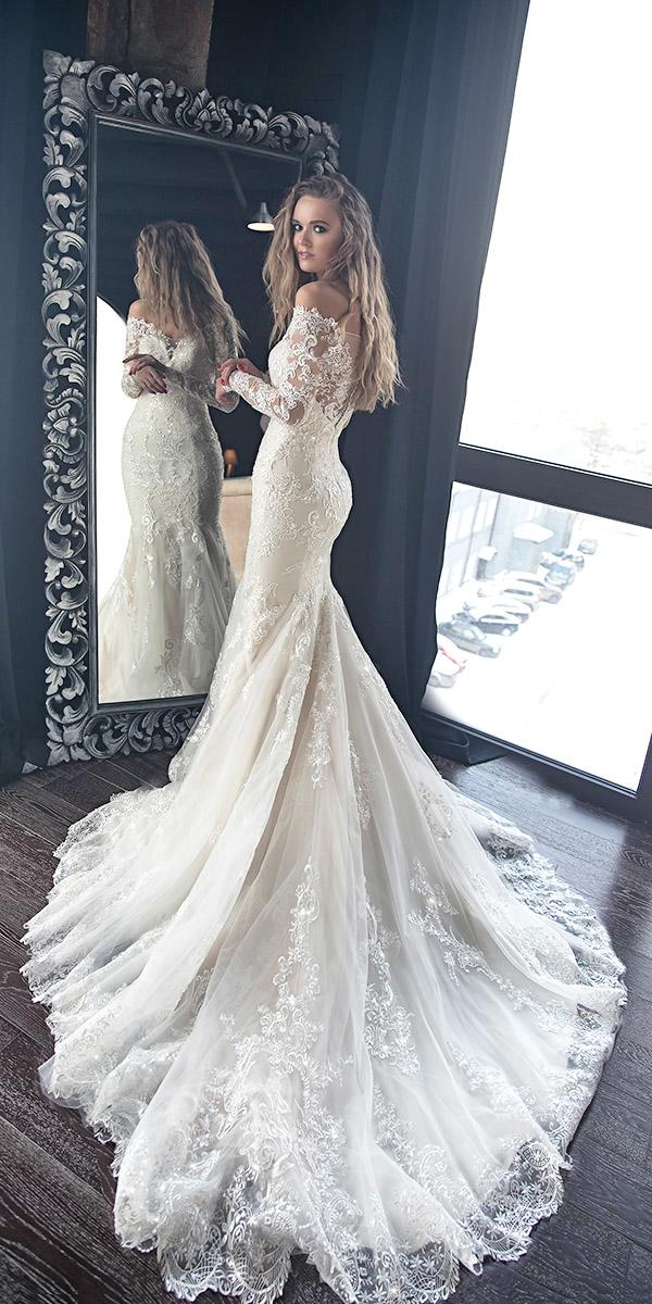 mermaid wedding dresses off the shoulder long sleeves full lace with train olivia bottega