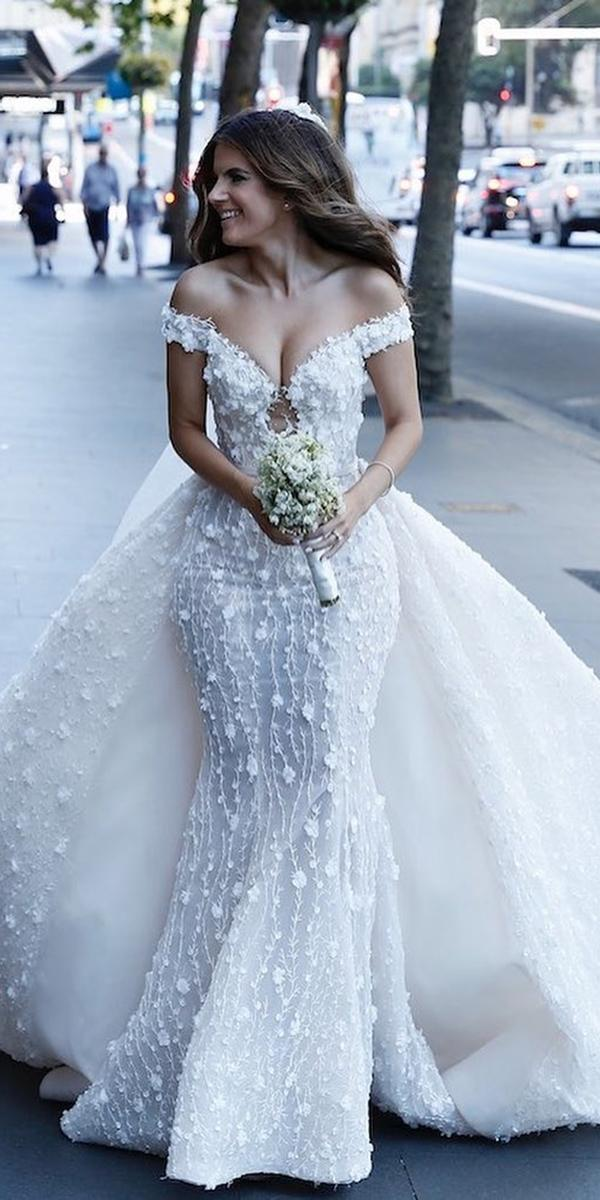 mermaid wedding dresses off the shoulder with overskirt floral appliques steven khalil