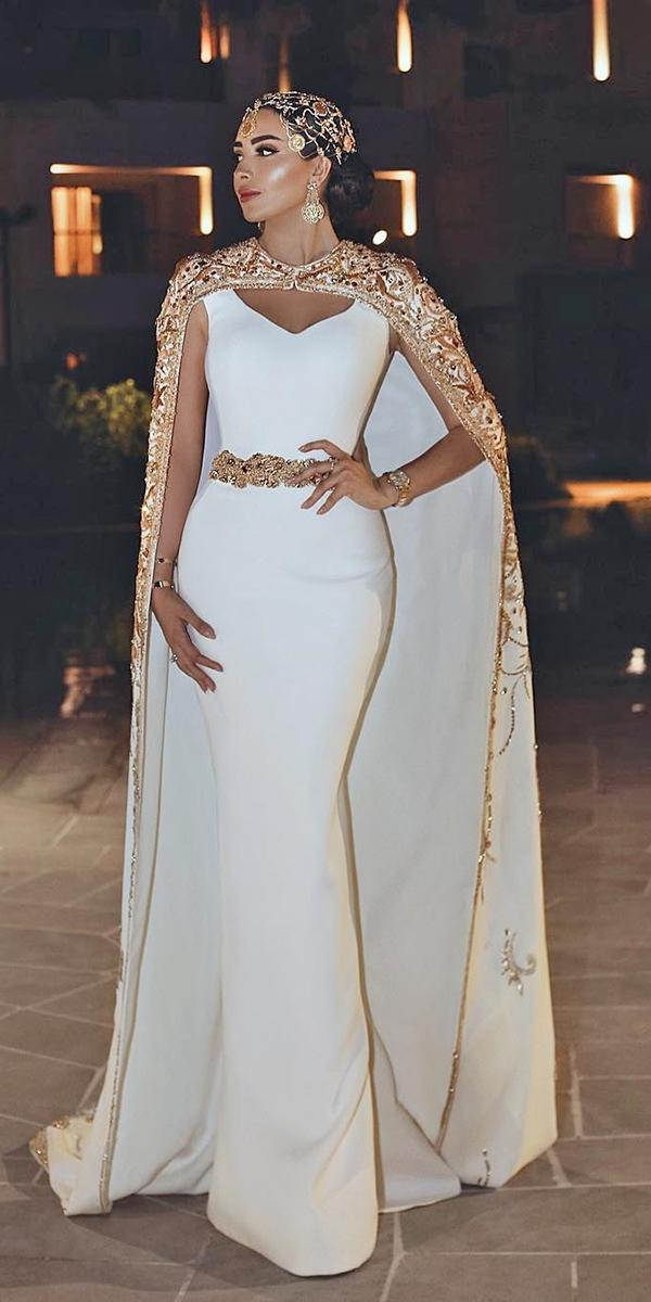 mermaid wedding dresses simple with cape gold trendy said mhamad official