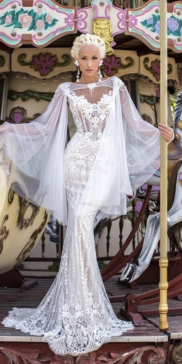 mermaid wedding dresses sweetheart with cape full lace romantic daria karlozi