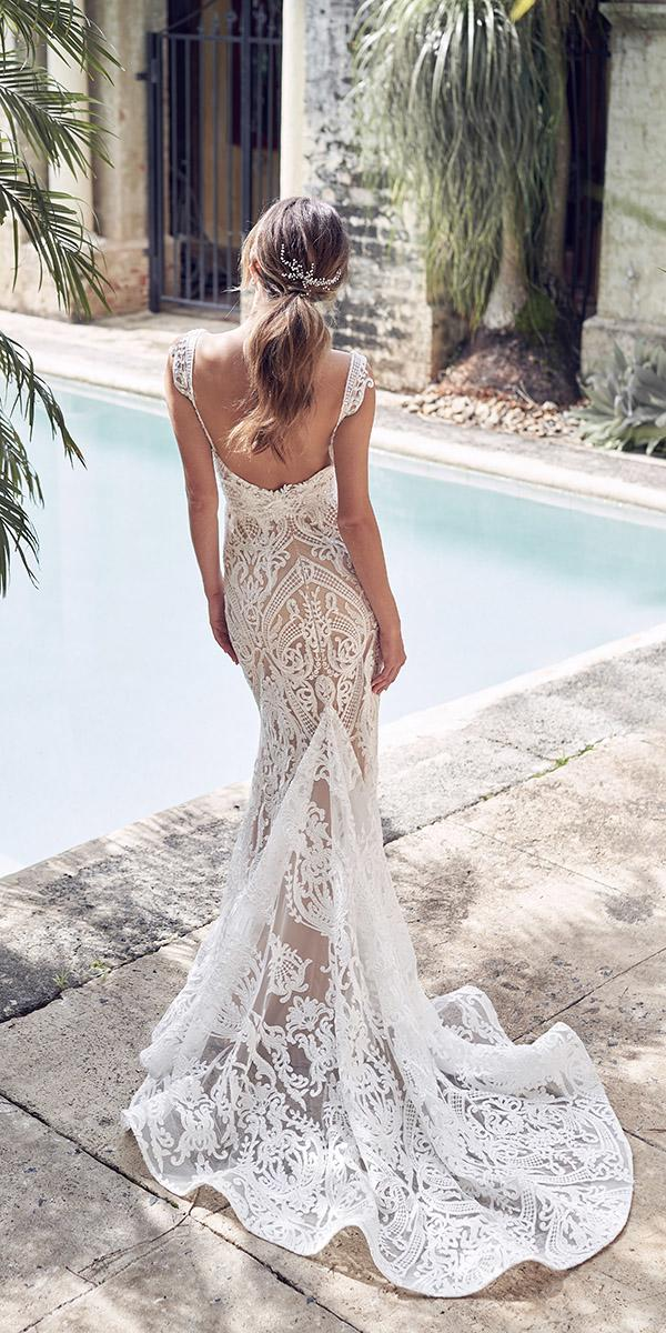 mermaid wedding dresses vintage lace low back with train anna campbell