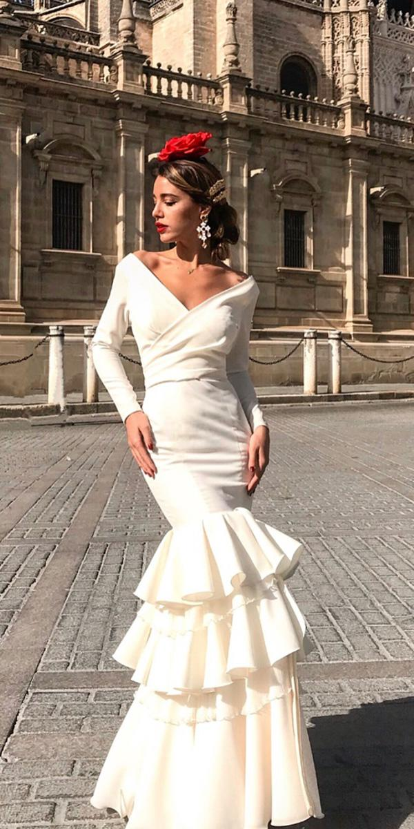 mermaid wedding dresses with long sleeves simple ruffled skirt maria josesuarez